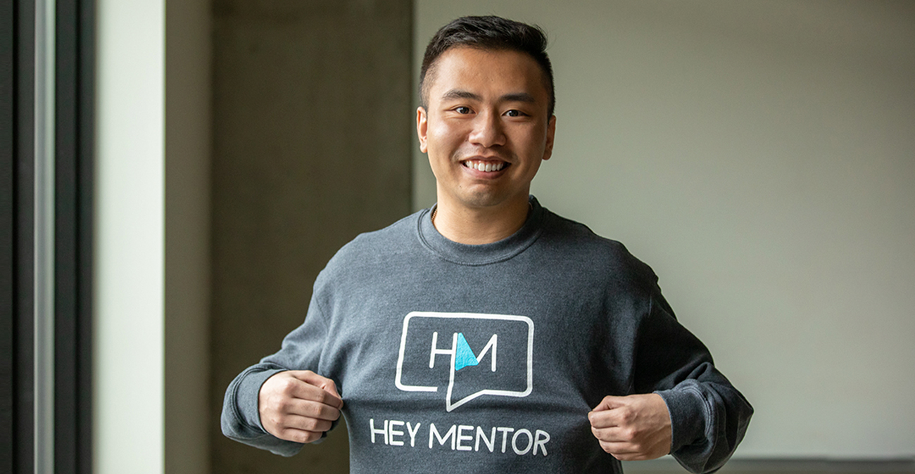 Kevin Truong in Hey Mentor t-shirt