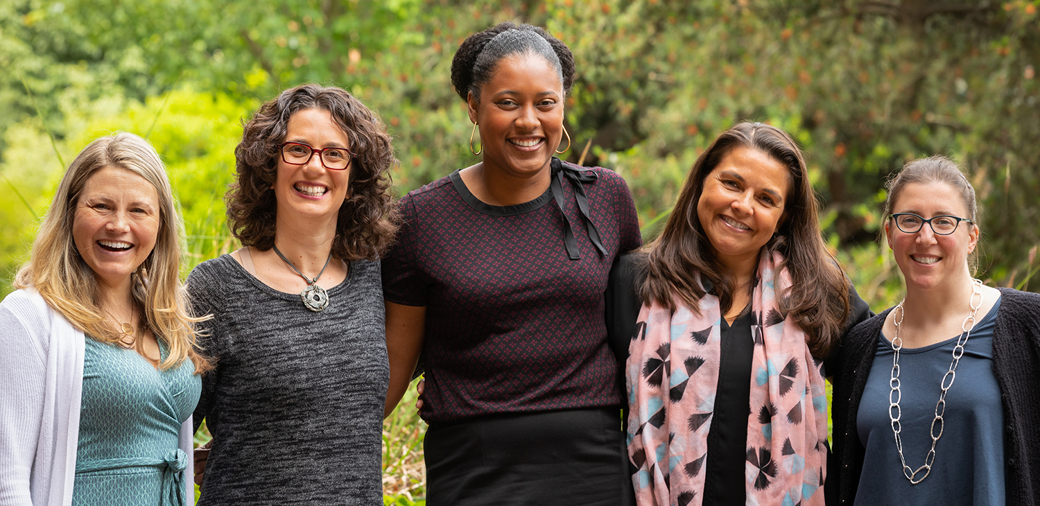 Arianne Eason (center) with mentors (from left) Jessica Sommerville, Cheryl Kaiser, Stephanie Fryberg, and Kristina Olson.