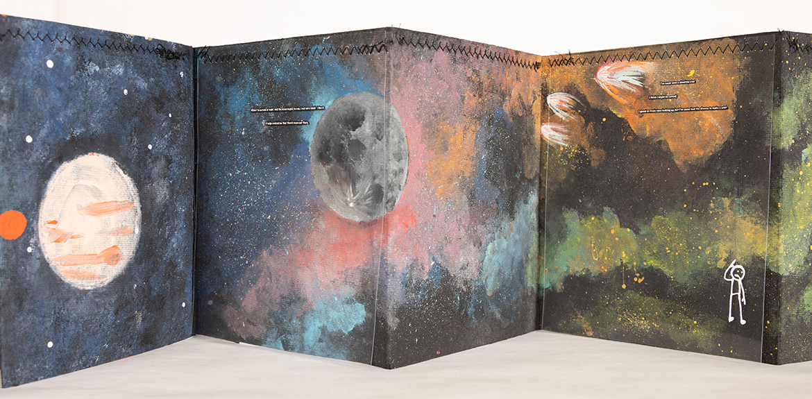 Detail from artist book, with images of the night sky.