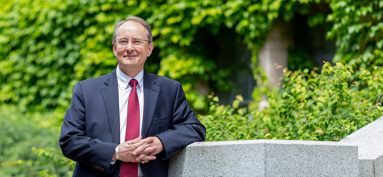 Portrait of Dean Robert Stacey on campus