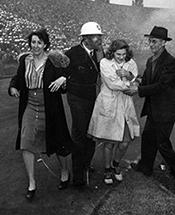 Stadium ruckus during World War II.