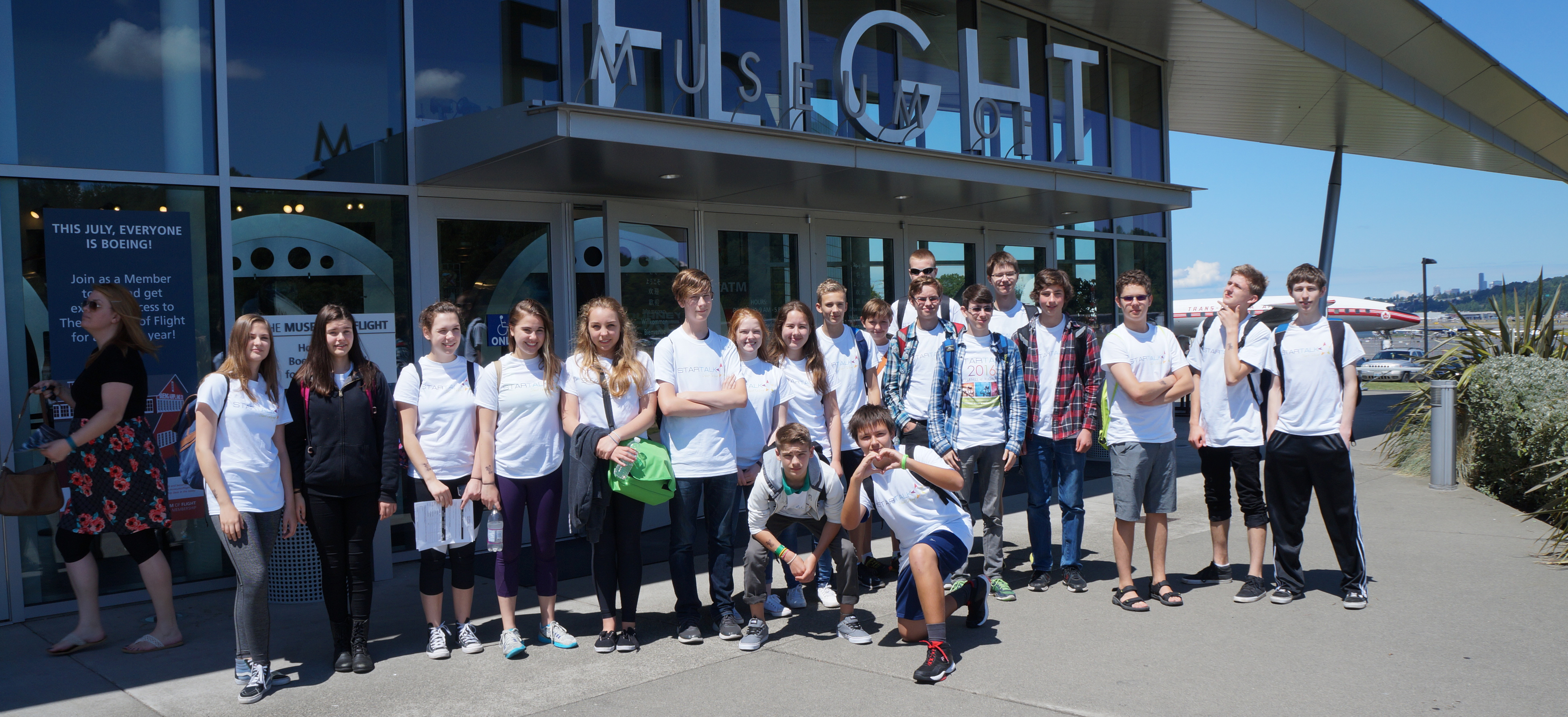 The STARTALK students gather outside the Museum of Flight.