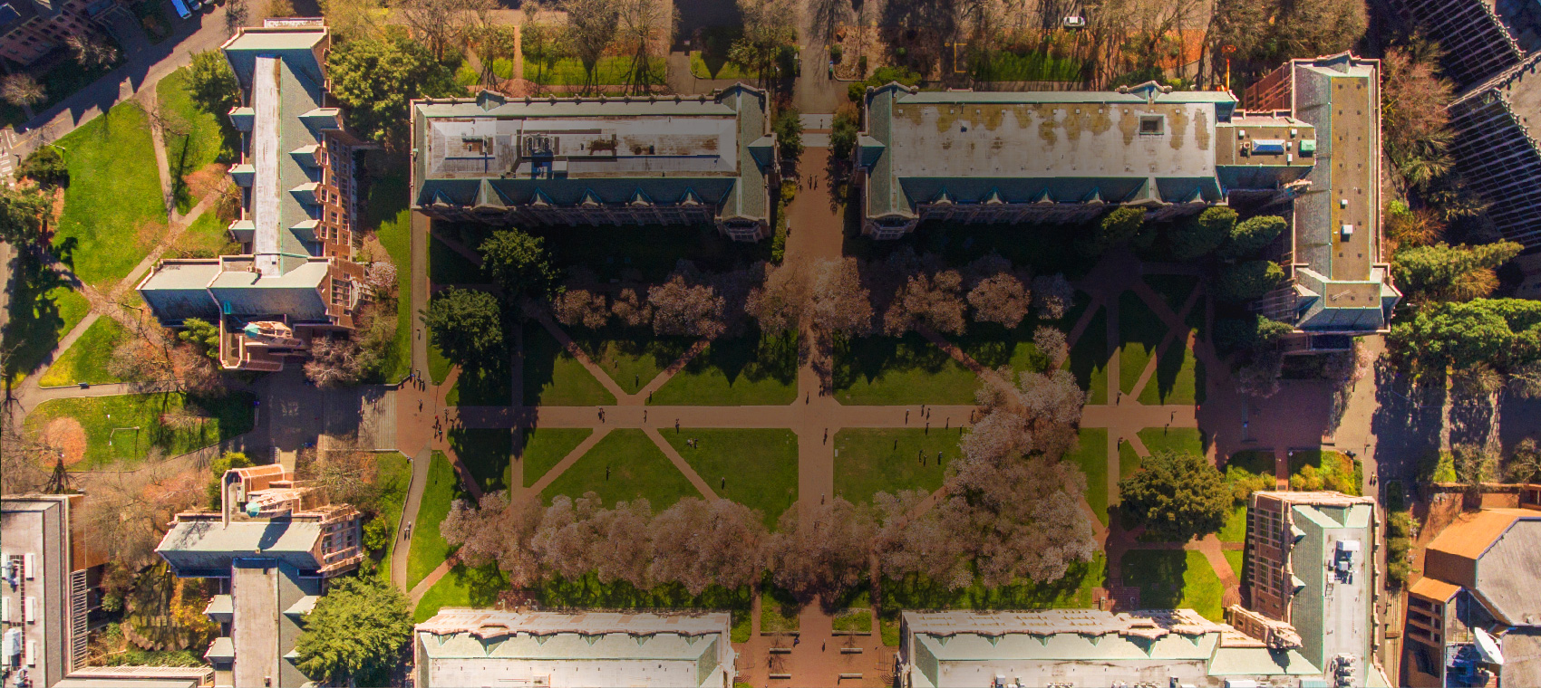 UW Liberal Arts Quadrangle as seen from the air